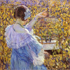 The Bird Cage (1910) by Frederick Carl Frieseke