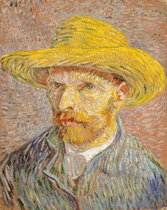Self-Portrait with a Straw Hat (1887) by Vincent van Gogh.