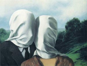 The Lovers I (1928) by Rene Magritte