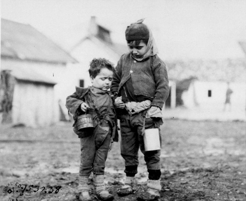 Children forced to evacuate their home country of Montenegro as a result of Austrian occupation. [Source: U.S. Army Signal Corps No. 153238.]